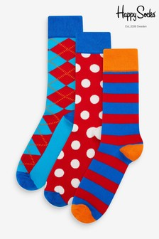 Happy Socks Argyle Socken im 3er Pack, rot