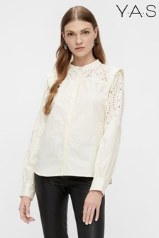 Y.A.S Cream Organic Cotton Broderie Anglaise Loliro Blouse