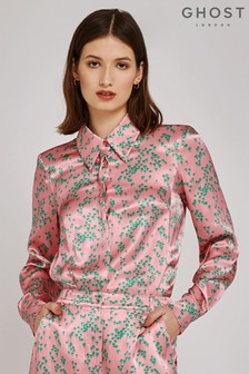 Ghost London Pink Lucy Bonzai Floral Print Satin Shirt