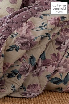 Painted Floral Easy Care Bedspread by Catherine Lansfield