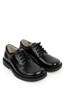 GUCCI Kids Black Leather Lace-Up Shoes