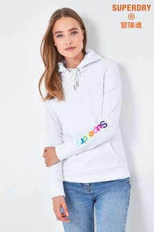 Superdry White Rainbow Overhead Hoody