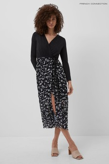 French Connection Black Doe Mix Jersey Wrap Midi Dress