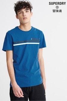 חולצת טי עם פסים ולוגו של Superdry בכחול