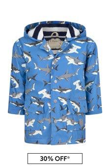 Hatley Kids & Baby Boys Blue Deep Sea Sharks Colour Changing Raincoat