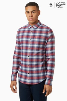 Original Penguin® Long Sleeve Ombre Check Flannel Shirt