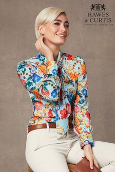 Hawes & Curtis Blue Floral Fitted Satin Blouse