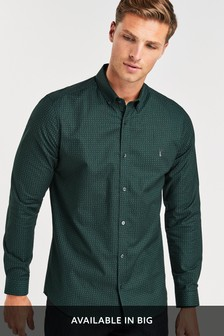 Print Long Sleeve Stretch Oxford Shirt
