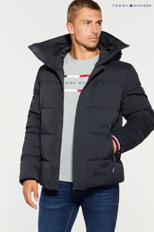 Tommy Hilfiger Black Stretch Nylon Bomber Coat