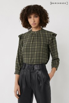 Warehouse Green Khaki Check Frill Top