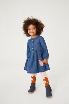 Bear Pocket Denim Dress Set (3mths-7yrs)