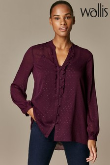 Wallis Red Dobby Ruffle Front Shirt
