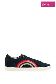 Joules Blue Tildy Nubuck Leather Lace-Up Trainers