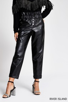 River Island Black PU Peg Jojo Trousers