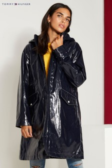 Tommy Hilfiger Blue Maxi Long Rain Coat