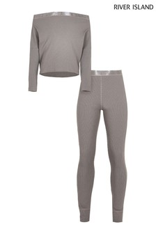 River Island Grey Rib Sweat And Legging Set