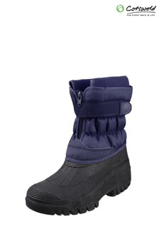 Cotswold Blue Chase Touch Fastening And Zip Up Winter Boots