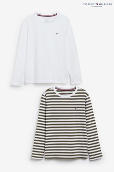 Tommy Hilfiger Green Long Sleeve Striped T-Shirt 2 Pack