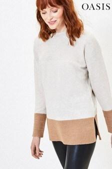 Oasis Natural Colourblock Knit Jumper