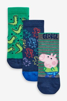 3 Pack Cotton Rich George Pig Socks (Younger)