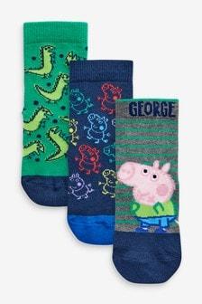 מארז של 3 גרביים עשירות בכותנה דגםGeorge Pig (ילדים)