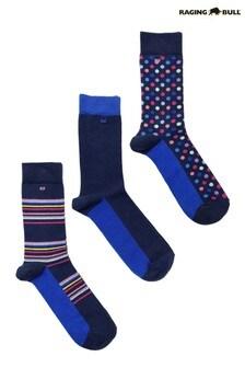 Raging Bull Cobalt Blue Men's Cotton Mix Socks Three Pack