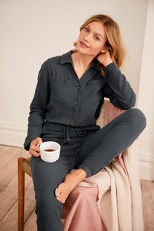 Textured Cotton Jumpsuit