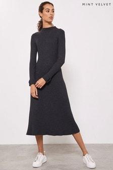 Mint Velvet Grey Ribbed Column Dress