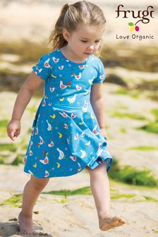 Frugi GOTS Organic Skater Dress In Chicken Print