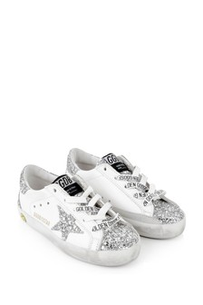 Kids White Leather & Silver Glitter Trainers