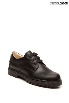 Step2wo Black Bruton Lace-Up Shoes