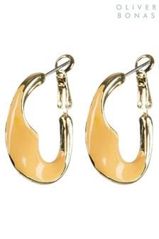 Oliver Bonas Yellow Tallis Twisted Enamel Coated Hoop Earrings