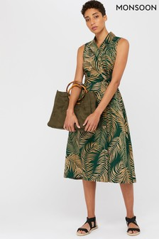 Monsoon Green Pama Palm Print Linen Midi Dress