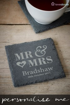 Personalised Mr And Mrs Slate Coaster by Loveabode