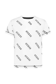 Guess Boys White Cotton T-Shirt
