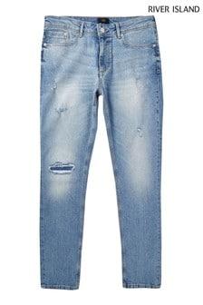 River Island Light Wash Ripped Skinny Sid Jeans