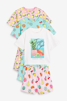 3 Pack Fruit Print Short Pyjamas (3-16yrs)