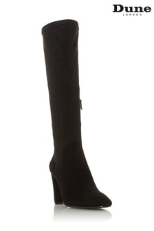 Dune London Siren Black Stretch Block Heel Almond Toe Boots