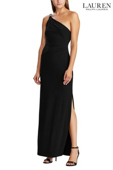 Lauren Ralph Lauren® Black Stretch One Shoulder Belina Evening Dress