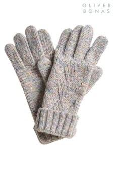 Oliver Bonas Rainbow Knit Cable Grey Gloves