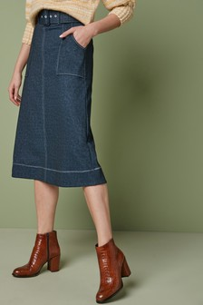 Denim Look Midi Skirt
