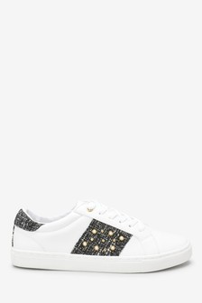 Pearl Embellished Lace-Up Trainers