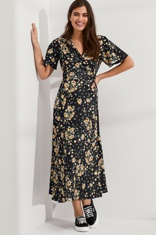 Printed Jacquard Wrap Dress