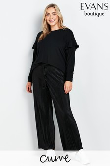 Evans Curve Black Pleated Trousers
