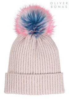 Oliver Bonas Ribbed Fun Pink Pom Beanie Hat
