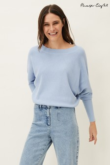 Phase Eight Blue Aulla Ripple Knit Jumper