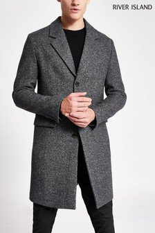 River Island Grey Single Breasted 3 Button Overcoat
