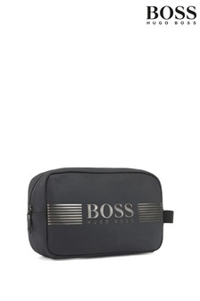 BOSS Grey Pixel Structured Wash Bag