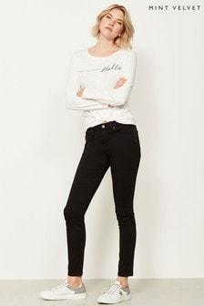 Mint Velvet Orlando Skinny-Jeans mit Reißverschluss, schwarz