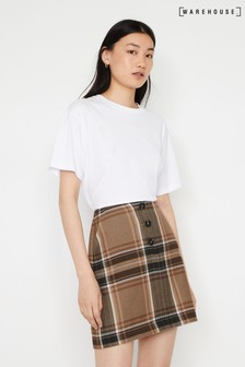 Warehouse Natural Bold Check Pelmet Mini Skirt